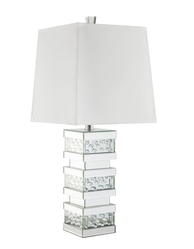 Contemporary Square Table Lamp with Pedestal Mirrored Base, White and Clear - BM207534 By Casagear Home