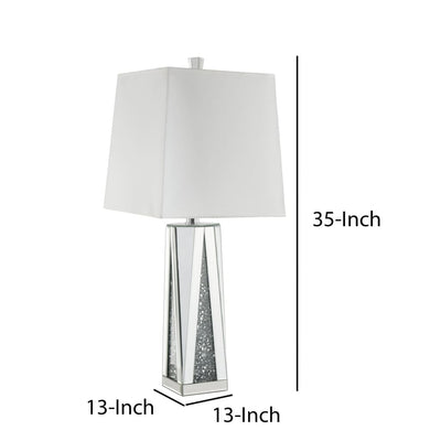 Contemporary Square Table Lamp with Faux Diamond Inlays White and Clear - BM207535 By Casagear Home BM207535