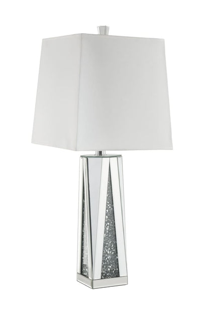Contemporary Square Table Lamp with Faux Diamond Inlays, White and Clear - BM207535 By Casagear Home