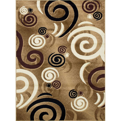 7 X 5 Power Loomed Abstract Looping Print Area Rug Brown By Casagear Home BM207798