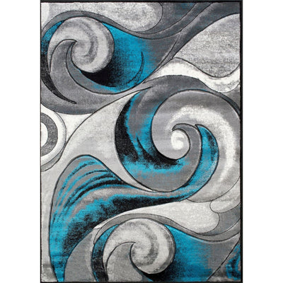 7 X 5 Power Loomed Curvaceous Line Print Area Rug Blue and Gray By Casagear Home BM207801