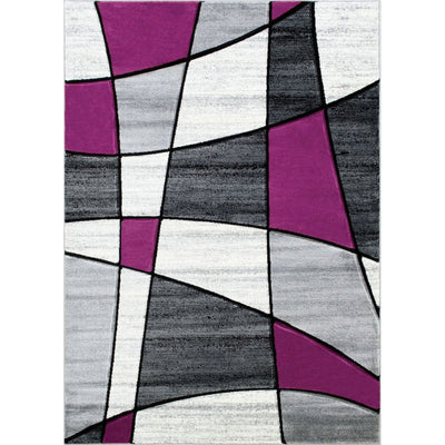 7' X 5' Power Loomed Line Breaking Print Area Rug, Gray and Purple By Casagear Home