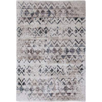 76 X 53 Power Loomed Chevron Print Area Rug Beige and Gray By Casagear Home BM207814