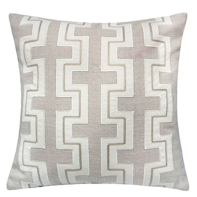 20 Square Embroidered Fret Design Accent Pillow Set of 2 Gray and White By Casagear Home BM207838