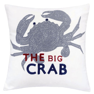 "20"" Square Crab Embroidered Accent Pillow, Set of 2, White and Gray By Casagear Home"