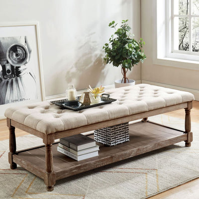 "48"" Tufted Upholstered Bench with Bottom Shelf, Beige and Brown By Casagear Home"