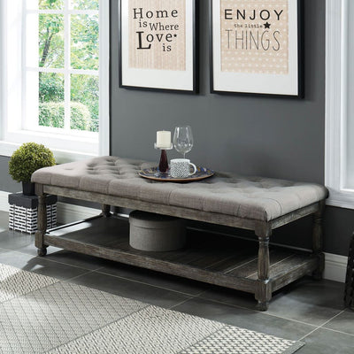 "48"" Tufted Upholstered Bench with Bottom Shelf, Gray By Casagear Home"