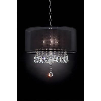 19 Hanging Crystal Ceiling Lamp with Dark Shade Black By Casagear Home BM208066