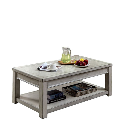 "48"" Rectangular Plank Top Coffee Table with Bottom Shelf, Gray By Casagear Home"