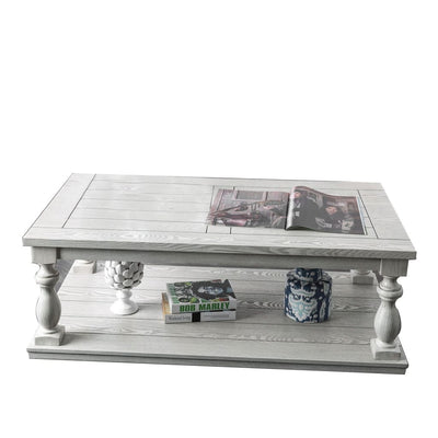 52 4-Post Coffee Table with Bottom Shelf White By Casagear Home BM208126