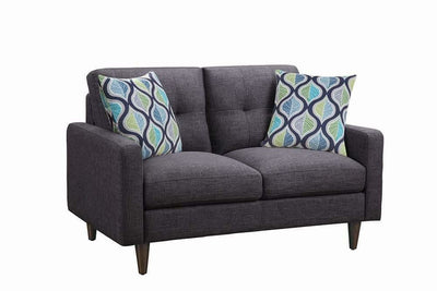 Fabric Upholstered Wooden Loveseat with Tufted Back, Gray - BM208143 By Casagear Home