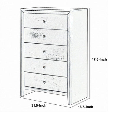 Transitional Style Wooden Chest with 5 Spacious Drawers Gray - BM208174 By Casagear Home BM208174