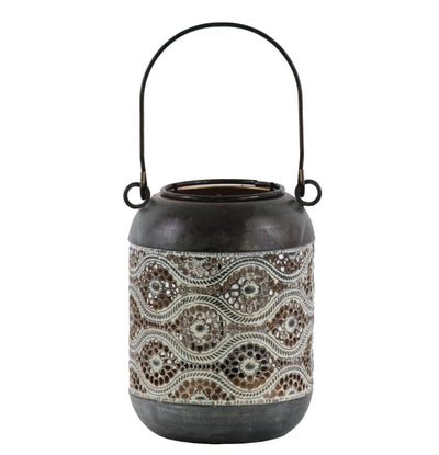 6 Cylindrical Metal Lantern with Pierced Floral Design Gray By Casagear Home BM208213