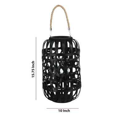 15.75 Wooden Mesh Design Lantern with Rope Hanger Black By Casagear Home BM208244