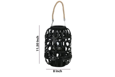 11.5 Wooden Mesh Design Lantern with Rope Hanger Black By Casagear Home BM208246