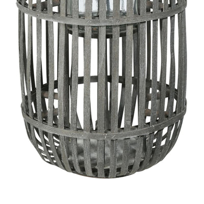 22 Round Wooden Caged Lantern with Glass Hurricane Gray By Casagear Home BM208268