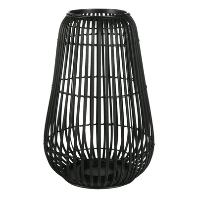 13.75 Metal Frame Lantern with Lattice Design Black By Casagear Home BM208301