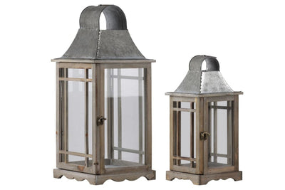 2 Piece House Shape Lantern with Glass Inset Brown and Gray By Casagear Home BM208347