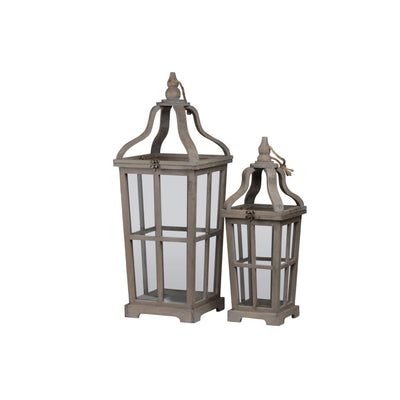 2 Piece Curved Ribbon Top Window Pane Lantern Brown By Casagear Home BM208394