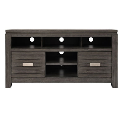 50 Wooden Media Console Table with Metal Pulls Gray By Casagear Home BM208456