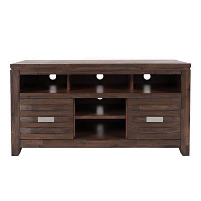 50 Wooden Media Console Table with Metal Pulls Brown By Casagear Home BM208471