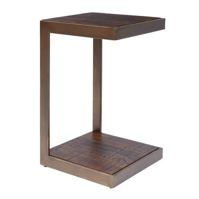 Metal C-Shape End Table with Wooden Shelves Brown By Casagear Home BM208492