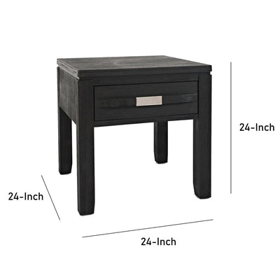1 Drawer Wooden End Table with Metal Pulls Dark Gray By Casagear Home BM208509