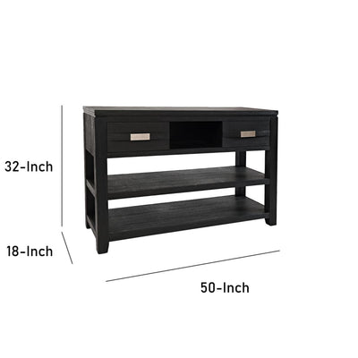 50 Wooden Sofa Table with 2 Sliding Doors and 2 Shelves Dark Gray By Casagear Home BM208510