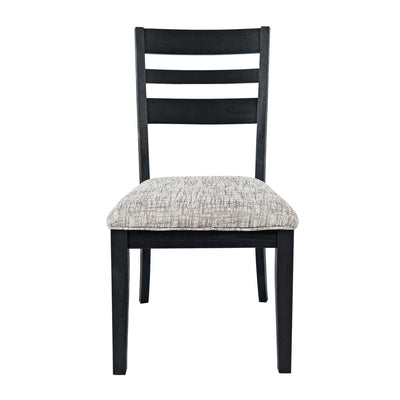 Wooden Ladderback Chair with Cushioned Seat Set of 2 Dark Gray By Casagear Home BM208514