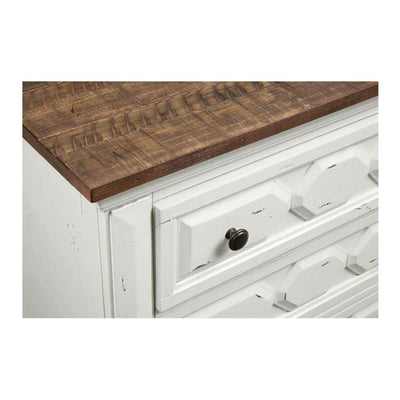 3 Drawer Wooden Nightstand with Metal Pulls White and Brown By Casagear Home BM208536