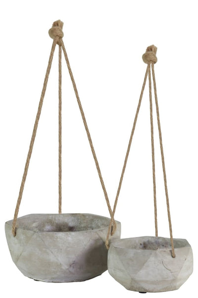 Hexagonal Cement Pots with Rope Attachments Short Set of Two Gray By Casagear Home BM208580