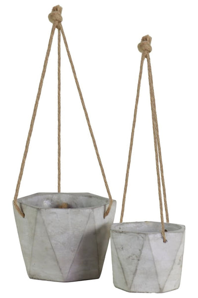 Hexagonal Cement Pots with Rope Attachments Tall Set of Two Gray By Casagear Home BM208581