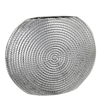 Disk Like Round Shape Metal Vase with Embedded Design Small Silver By Casagear Home BM208635