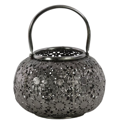 Round Metal Lantern with Floral Pierced Design Small Gray By Casagear Home BM208648