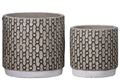 Cement Pot with Interweaved Pattern Set of 2 Brown and Black By Casagear Home BM208756