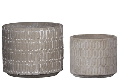 Round Cement Pot with Embossed Cross Pattern Set of 2 Gray By Casagear Home BM208758