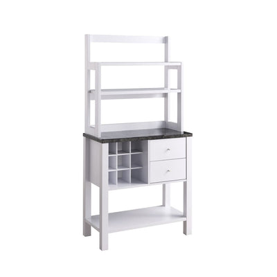 64 2-Drawer Bakers Cabinet with Wine Rack White By Casagear Home BM208906