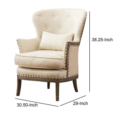 Demi Wing Back Fabric Upholstered Accent Chair Cream and Oak Brown By Casagear Home BM209056