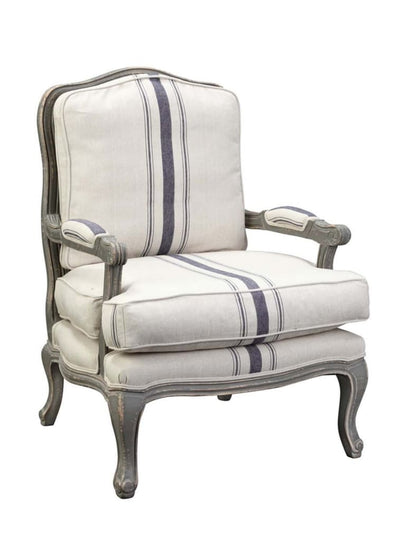 Fabric Upholstered Striped Accent Chair with Cabriole Legs White and Blue By Casagear Home BM209059