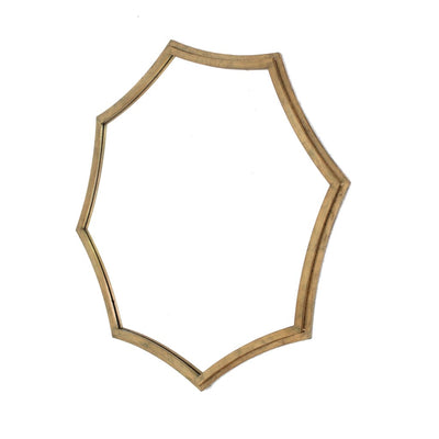 Wooden Wall Mirror with Curved Hexagram Shape Frame Brown By Casagear Home BM209099