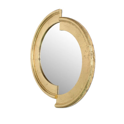 Semicircle Wooden Dressing Mirror with Interlaced Pattern Design Gold By Casagear Home BM209116
