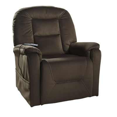 Upholstered Power Lift Recliner with Side Pocket Brown By Casagear Home BM209307