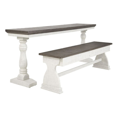 80 2-Piece Church Pew Wooden Dining Set Gray and White By Casagear Home BM209322