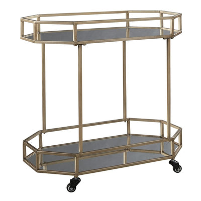 30 Octagonal Mirror Top Metal Bar Cart Silver and Gold By Casagear Home BM209342