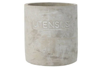 Round Cemented Decorative Utensils Jar with Typography Gray By Casagear Home BM209437