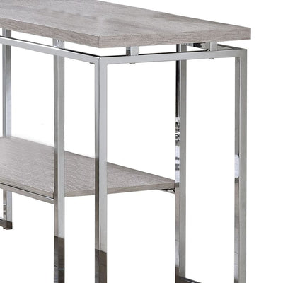 47 Rectangular Sofa Table with Bottom Shelf Silver and Brown By Casagear Home BM209597