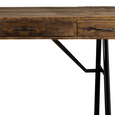 47 3-Drawer Wooden Desk with Tubular Legs Black and Brown By Casagear Home BM209604