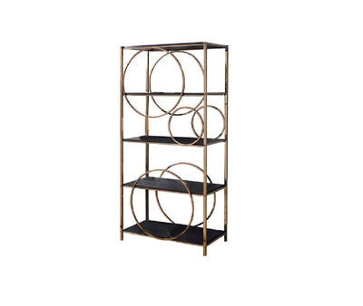 "68"" 4-Shelf Bookshelf with Circular Pattern, Silver and Gray By Casagear Home"