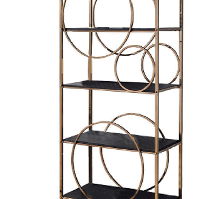 68 4-Shelf Bookshelf with Circular Pattern Silver and Gray By Casagear Home BM209607