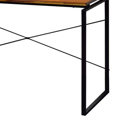 47 Rectangular Wood Top Desk with Metal Legs Brown and Black By Casagear Home BM209628